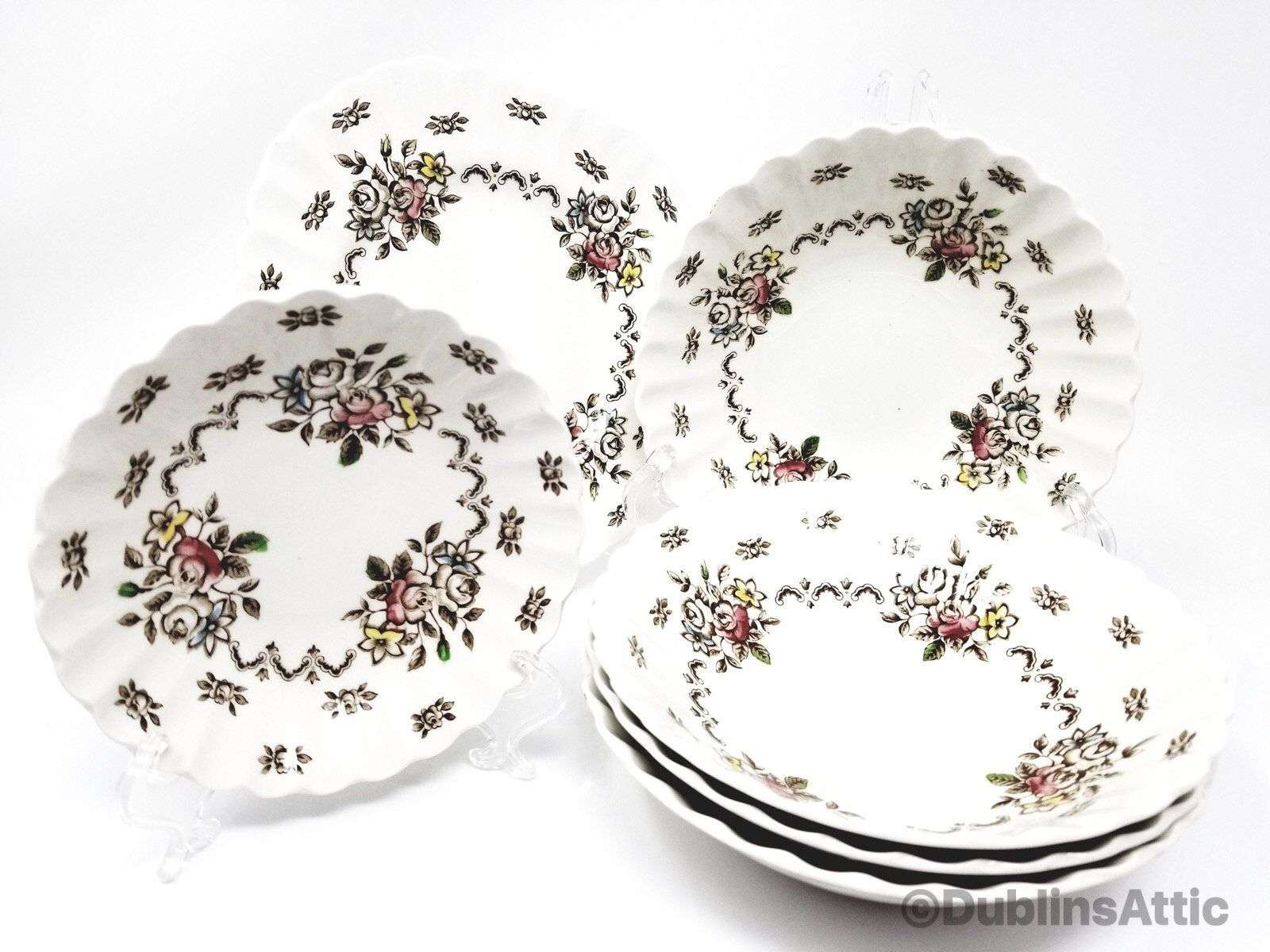 Vintage English Staffordshire Bowl Plate Set Classic White Chatsworth By J G Meakin England By Dublinsattic On Etsy Plates And Bowls Handmade Plate Sets