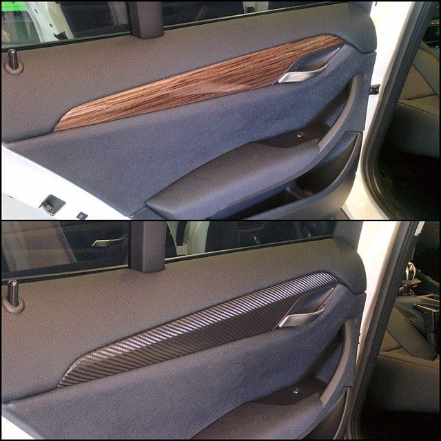 Mr Tint Wrapped All The Stock Woodgrain Paneling On The Door Panels And The Dash Of This Bmw X1 In 3m Carbon Car Wrap Vinyl Wrap Bmw