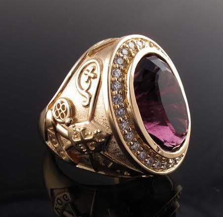 Bishop S Ring With Genuine Amethyst And Diamond Melee
