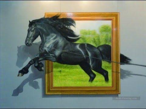 طريقة رسم حصان خارج من اللوحة ثري دي 3d Youtube Street Art Illusions 3d Painting Oil Painting Landscape