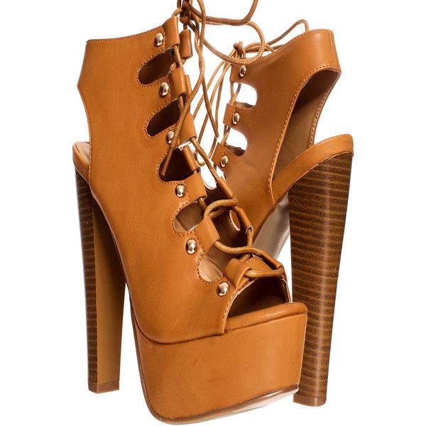 Camel faux leather lace up design platform high heel booties ($34) ❤ liked  on Polyvore featuring shoes, boots, ankle booties, camel, leather lace up  ...