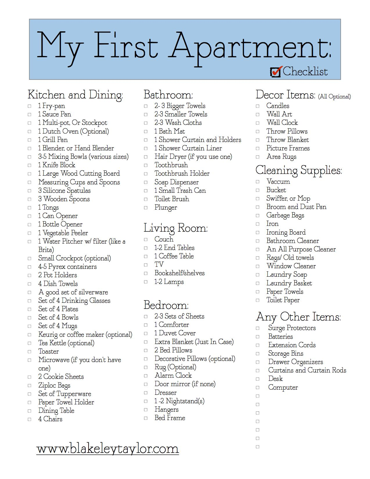Printables And Downloads Blakeley Taylor Apartment Checklist First Apartment My First Apartment