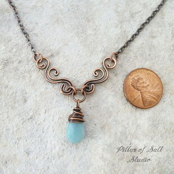 Copper & Amazonite necklace / handmade wire wrapped jewelry ...