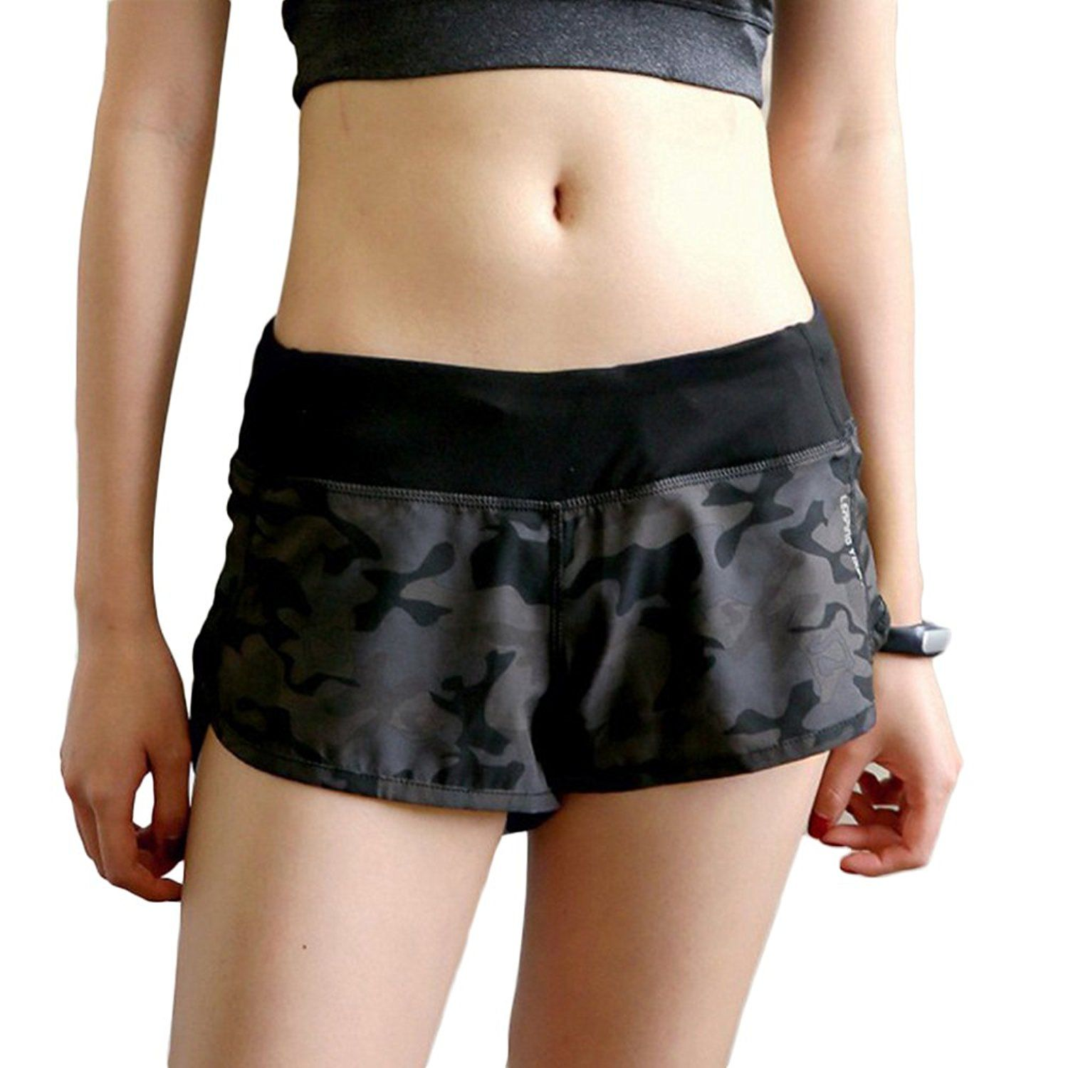 BLUE CAMO PERFORMANCE ATHLETIC SPORT WOMENS 4-WAY STRETCH ACTIVE DOLPHIN SHORTS