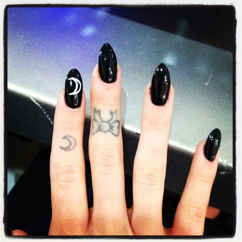 black almond shaped nail with moon nail art #mynails ...