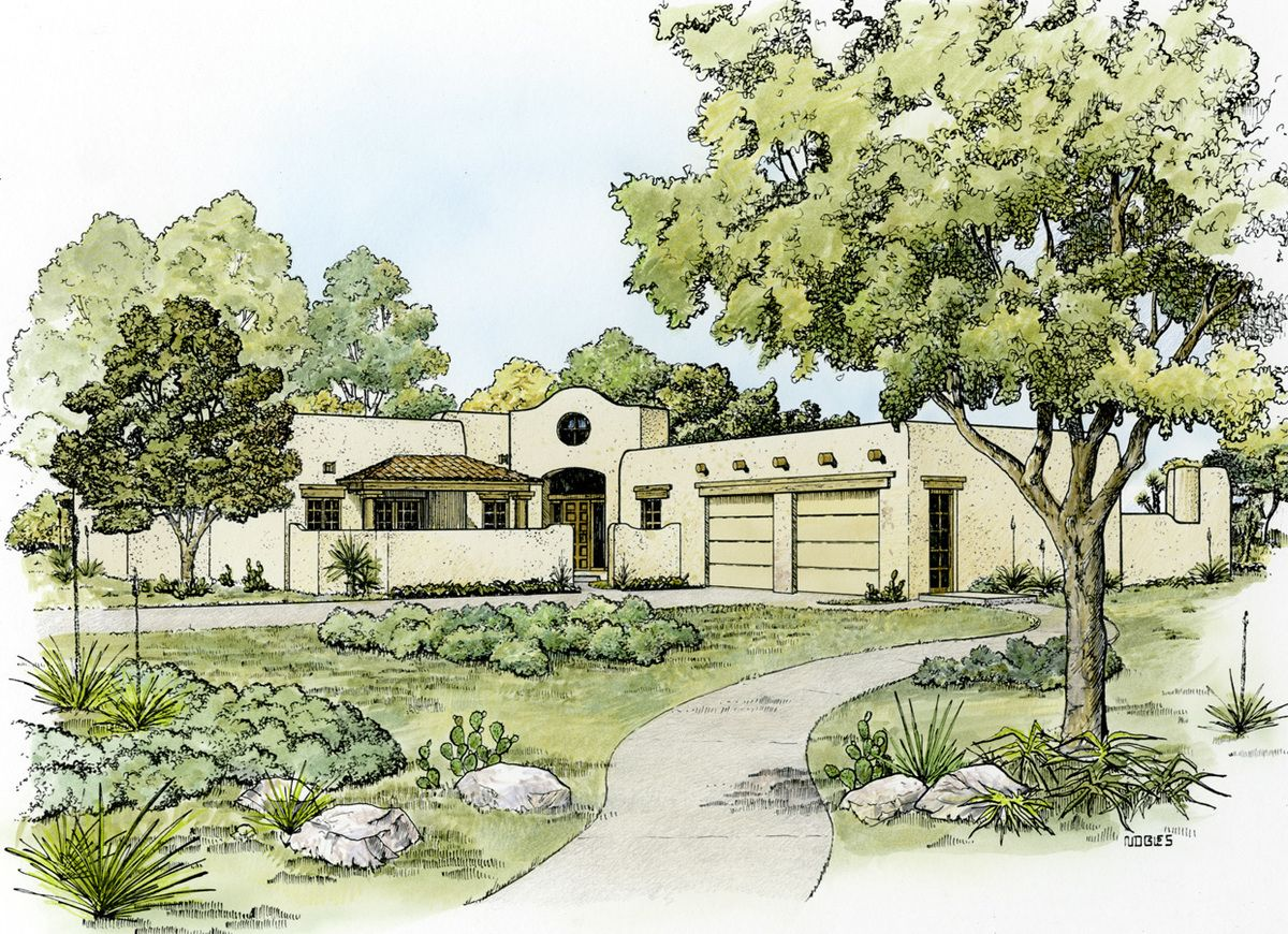 Plan HC Southwestern Home Plan with Unusual Shape