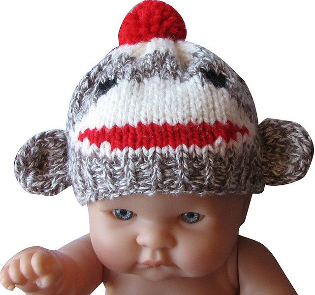 3ed4bb34f56 knitted sock monkey hat for a newborn baby by sock monkey kook