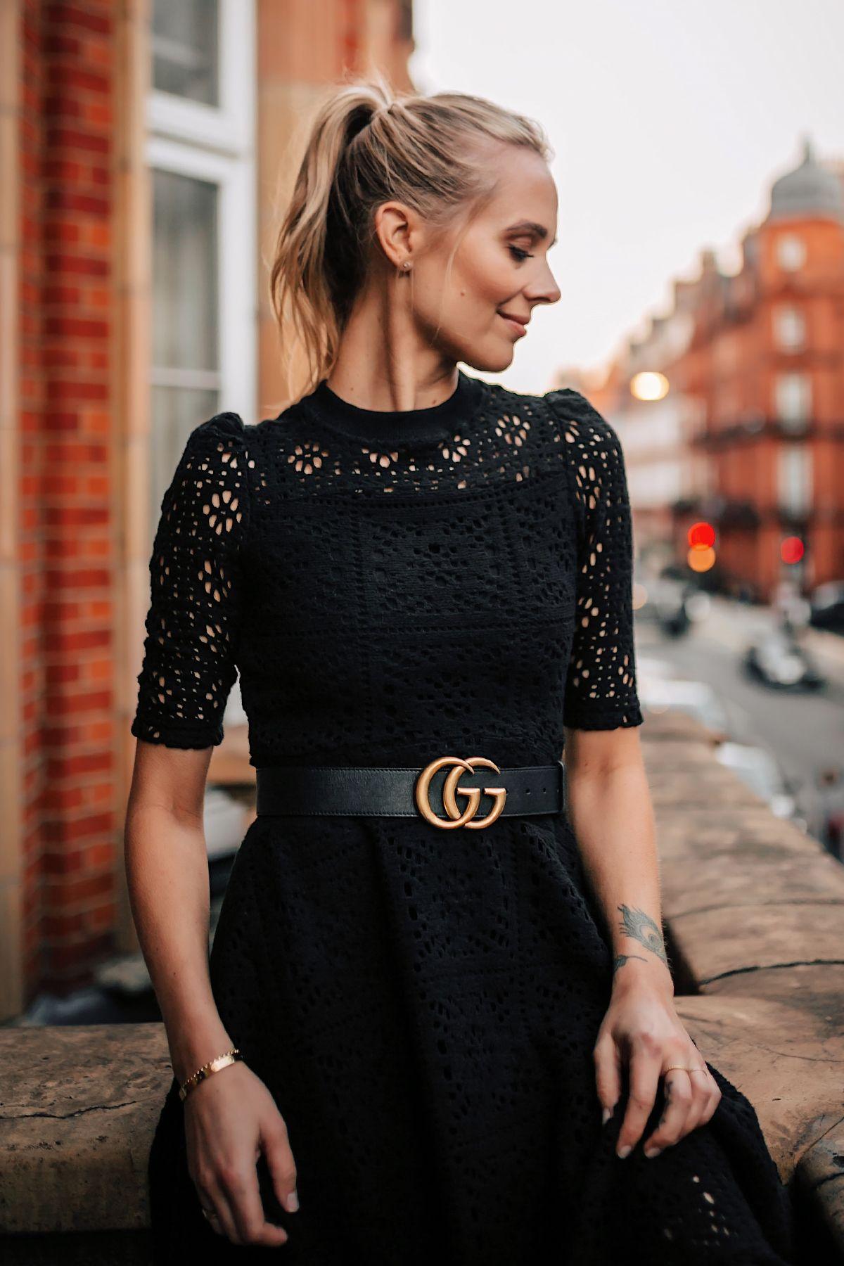 6d7c85219387 Blonde Women Wearing Black Lace Dress with Gucci Belt on London Balcony Fashion  Jackson