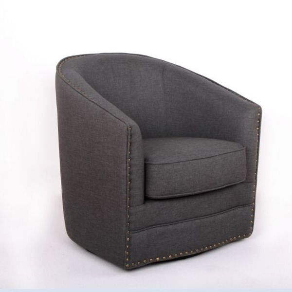 Baxton Studio Porter Contemporary Grey Fabric Upholstered Swivel
