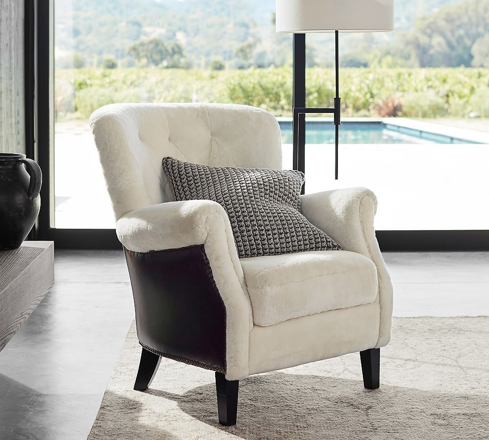 Mattox Shearling and Leather Armchair Armchair, Tufted