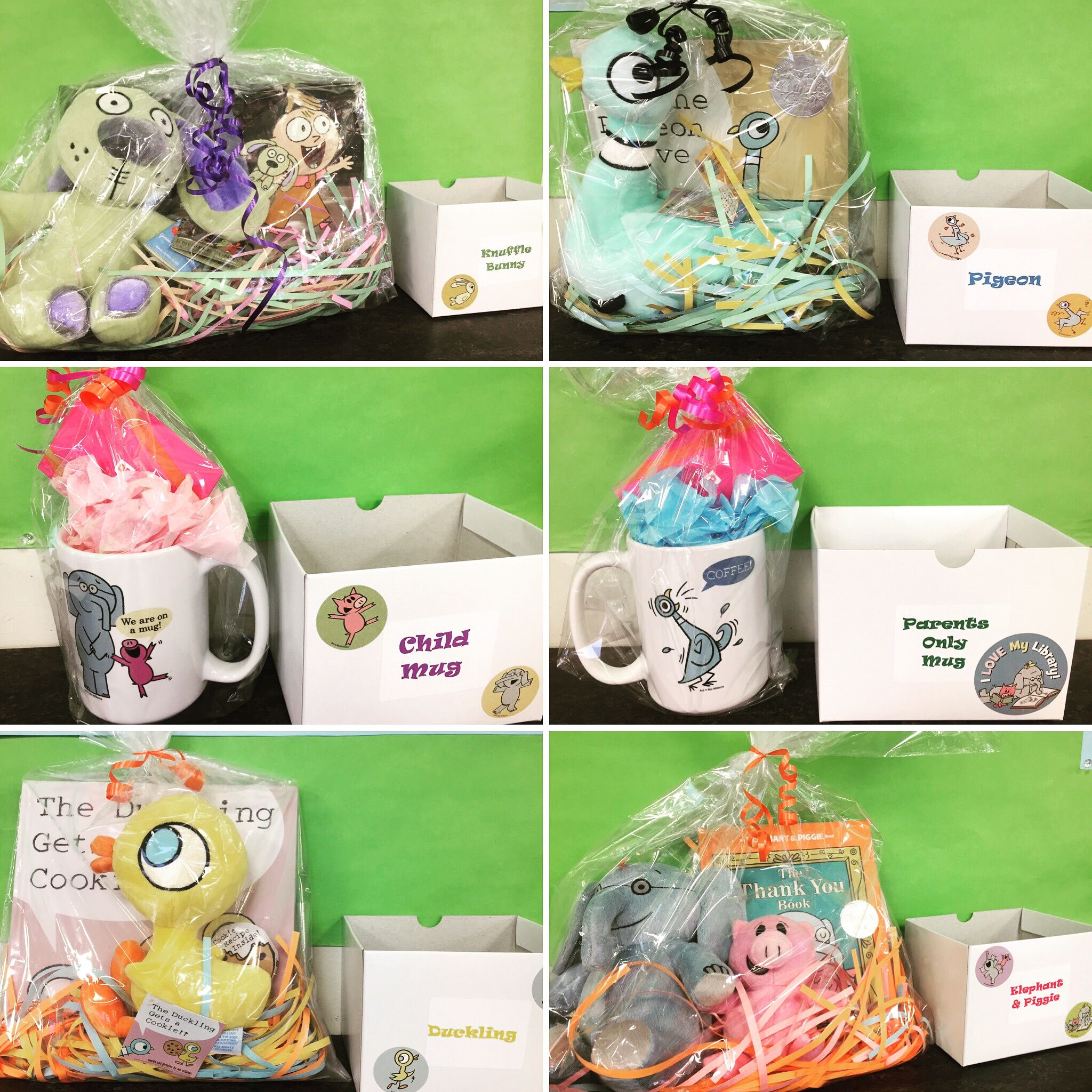 Check out these Mo Willems raffle prizes! Books, stuffed animals, and mugs w/ Dunkin' Donuts gift cards! As long as your kid is signed up for Winter Reading, they can put in for a raffle prize each week!