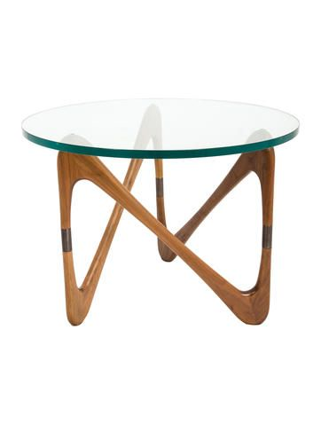 In Stores Now. Solid walnut and brass Design Within Reach Moebius side table with round clear tempered glass top. <br></br><br>For our oversize Art & Home items such as Furniture and Area Rugs, we provide a White Glove delivery service which includes in-room delivery, assembly and removal of packing materials. <b>Our deliveries typically take 4 to 6 weeks from the time the order is placed.</b></br>