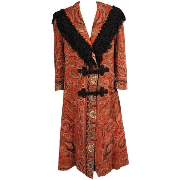 Preowned Edwardian Coat Made From A 19th Century Hand Woven Paisley... ($3,250) ❤ liked on Polyvore featuring costumes, multiple, frog costume, sailor costume, edwardian costumes, star costume and frog halloween costume
