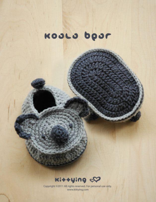 Koala-Bär, Baby Booties Häkelanleitung - PDF | Baby booties, Pdf and ...