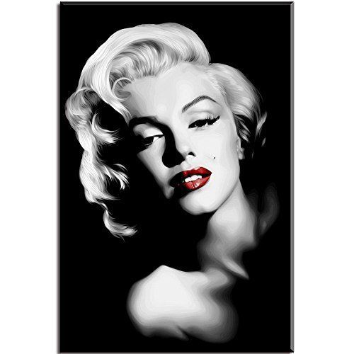 Marilyn Monroe Red Lips Picture On Canvas Wall Art Painting Black