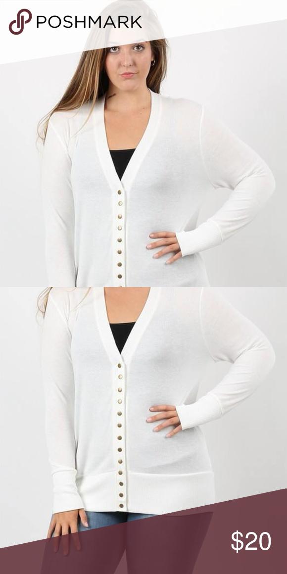NEW cozy Plus siz white snap cardigan   Clothes design