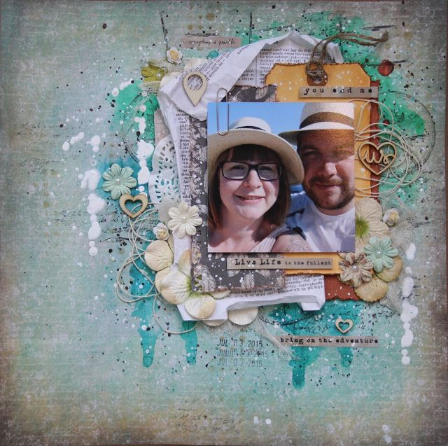 Saras pysselblogg - Sara Kronqvist Vintage style scrapbook layout with a touch of mixed media on the background