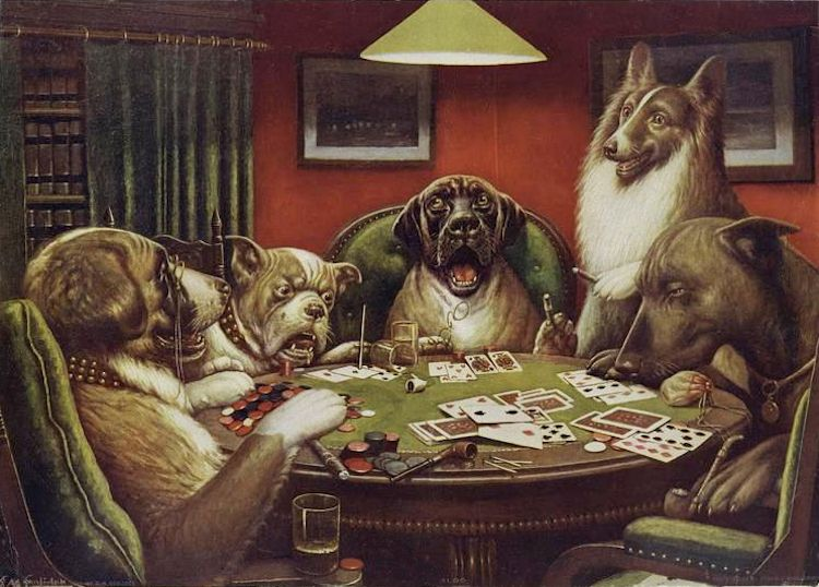 The Story Behind The Iconic Dogs Playing Poker Paintings Dogs Playing Poker Painting Art