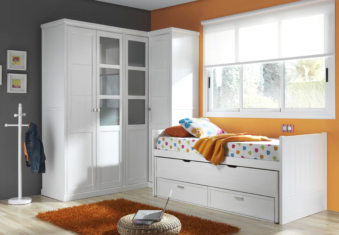 Dormitorio juvenil con armario de rinc n y cama nido for Cama nido con cajones blanca