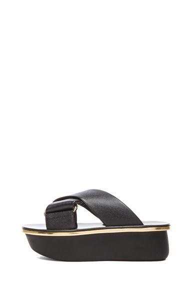114db0723c Marni|Saffiano Calfskin Leather Platform Wedge Sandals in Coal ...
