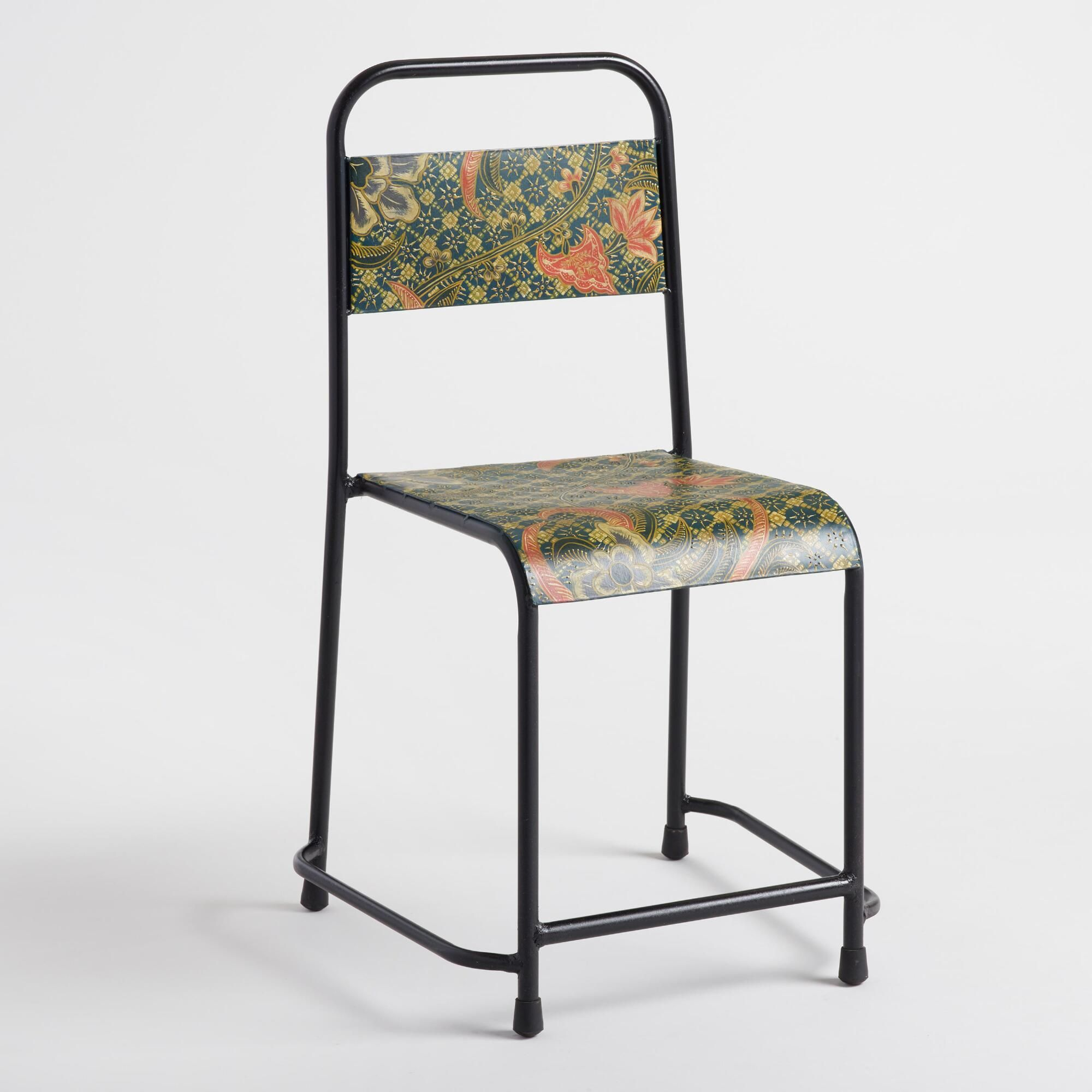 Blue Batik Metal Chair by World Market  Metal chairs, Leather