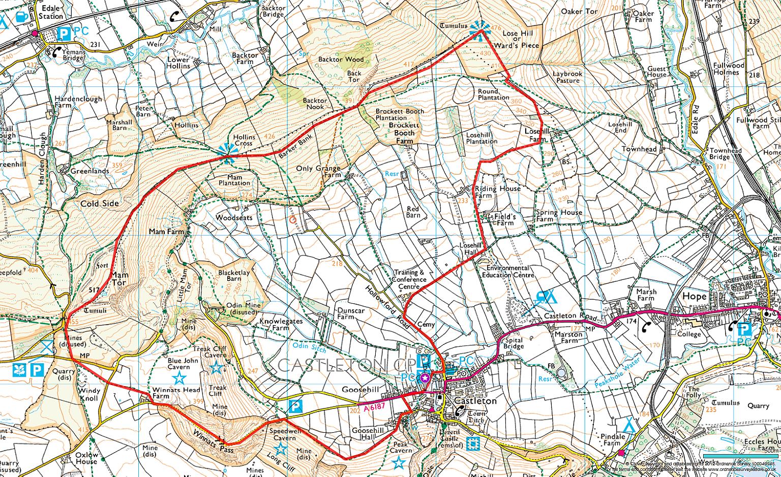 Map Of Castleton Map Castleton Derbyshire   Castleton to Lose Hill and Mam Tor  Map Of Castleton