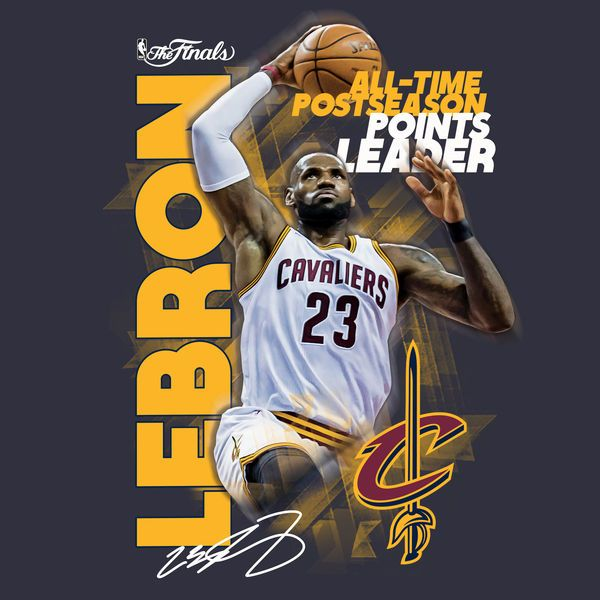 b22dd5ae2c82 LeBron James Cleveland Cavaliers Fanatics Branded 2017 NBA All-Time  Postseason Points Leader T-Shirt - Navy