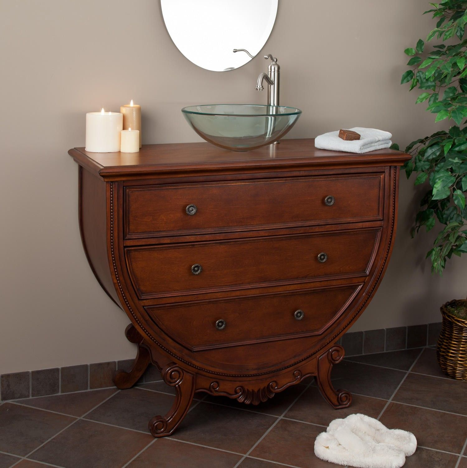 "44"" Haddington Vanity with Wooden Top for Vessel Sink ..."