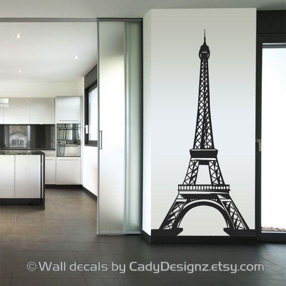 Eiffel tower vinyl wall decal home decor nursery wall decals paris decal french theme baby nursery wall art