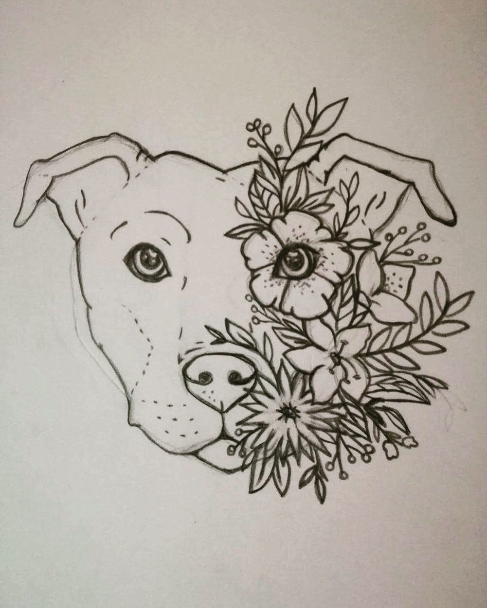 Turn this into a lotus tattoo!! Staffy tattoo Staffordshire bull terrier Floral Flower tattoo