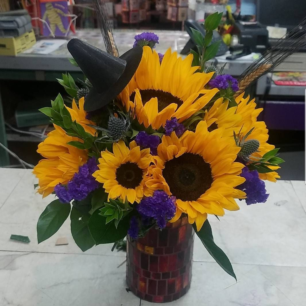 Fall flowers sunflowers halloween bouquet hey look at the boo explore halloween flowers fall flowers and more izmirmasajfo