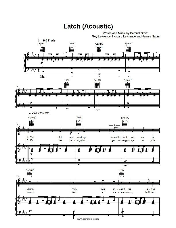 Latch Acoustic Sam Smith Piano Sheet Preview Music In 2018