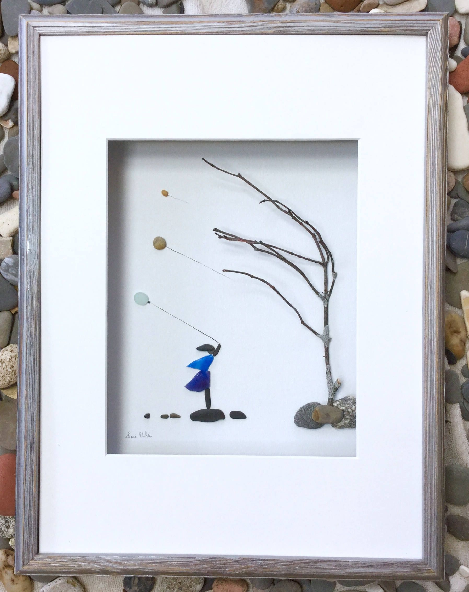 Pebble art girl with balloons modern wall art abstract contemporary