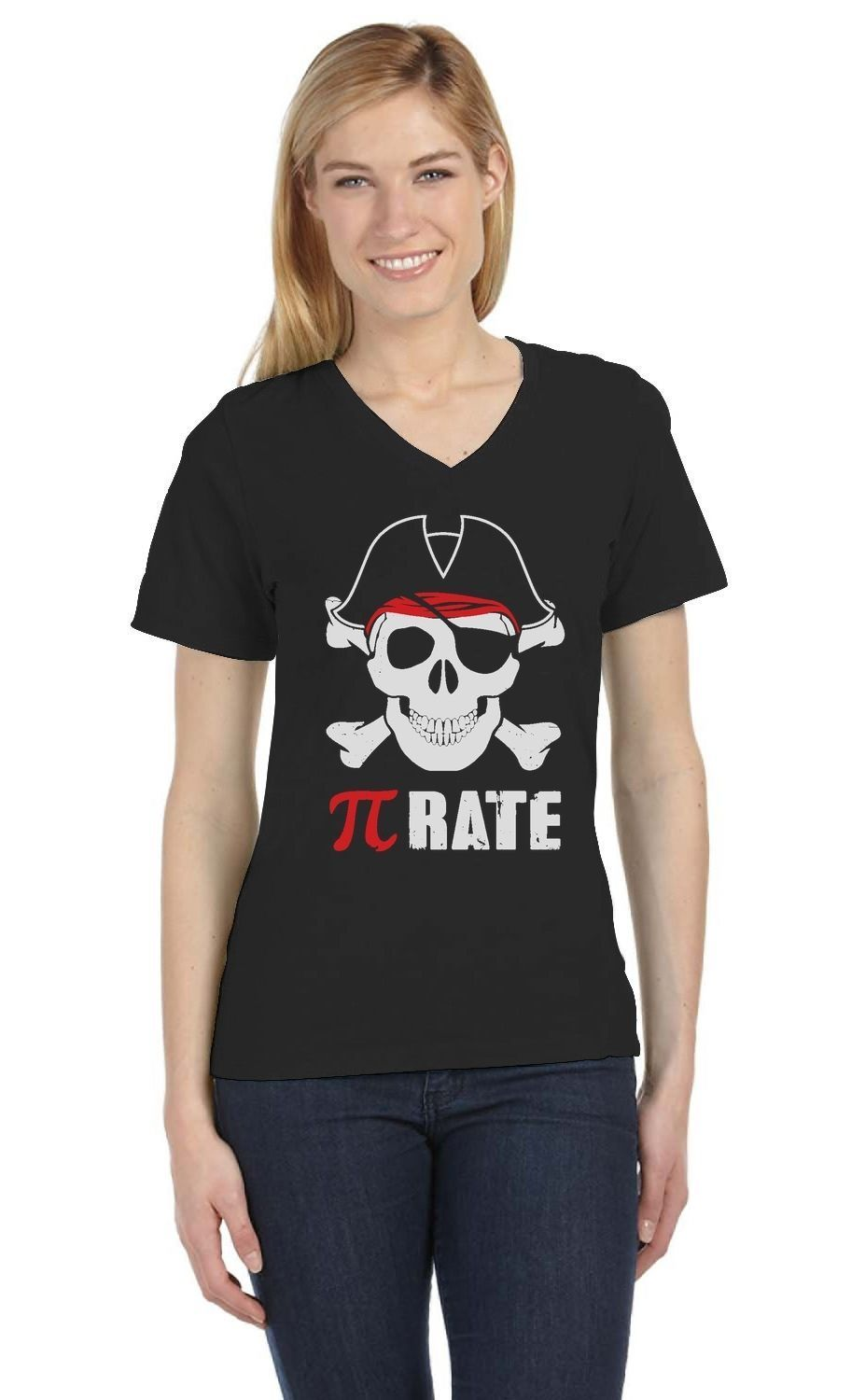 Pi-Rate - Funny Math Pirate Skull And Crossbones V-Neck Women T-Shirt Cool