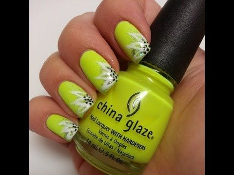 Simple Spring flower - Neon yellow - easy nail art tutorial | Nail ...