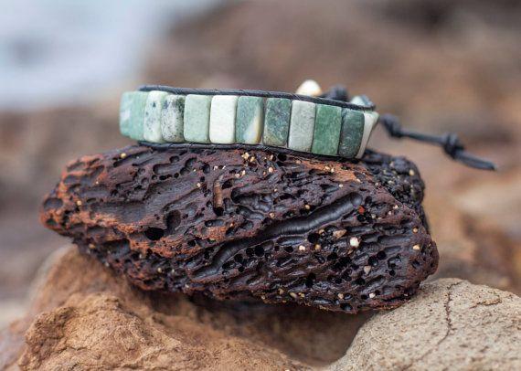 Black Green & White Marble Brocelet Wrap Bracelet