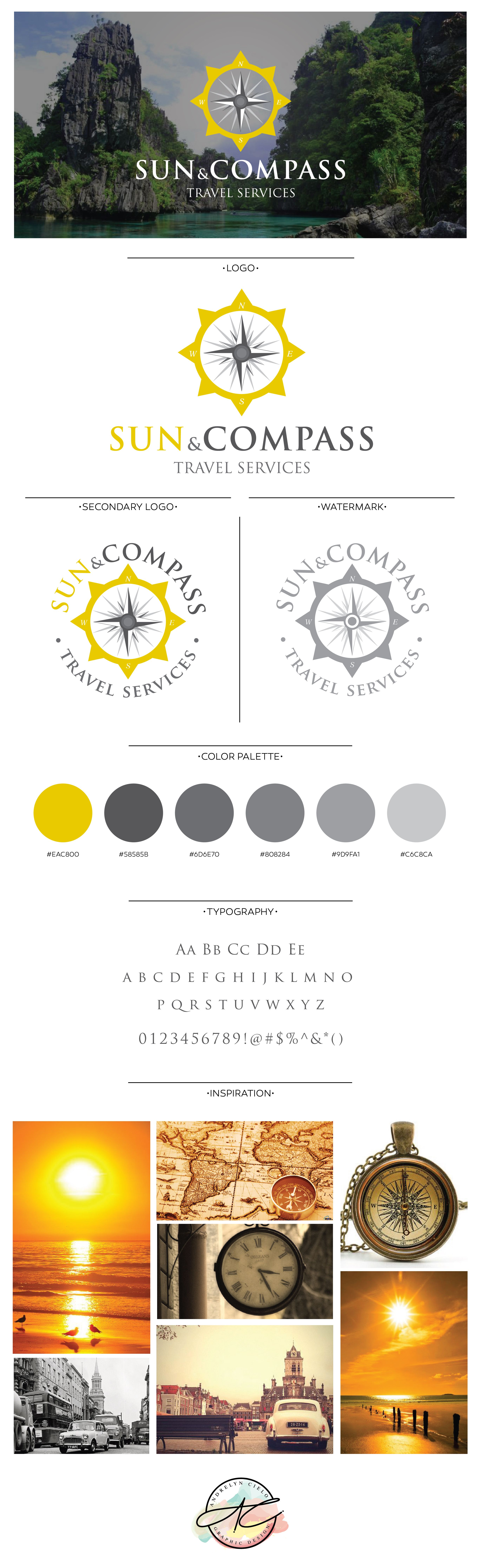 sun and pass travel agency logo and branding design