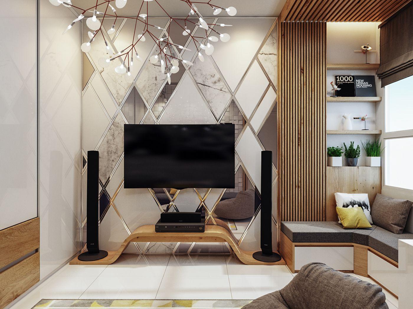 yellow house  chị vân on behance  living room tv unit
