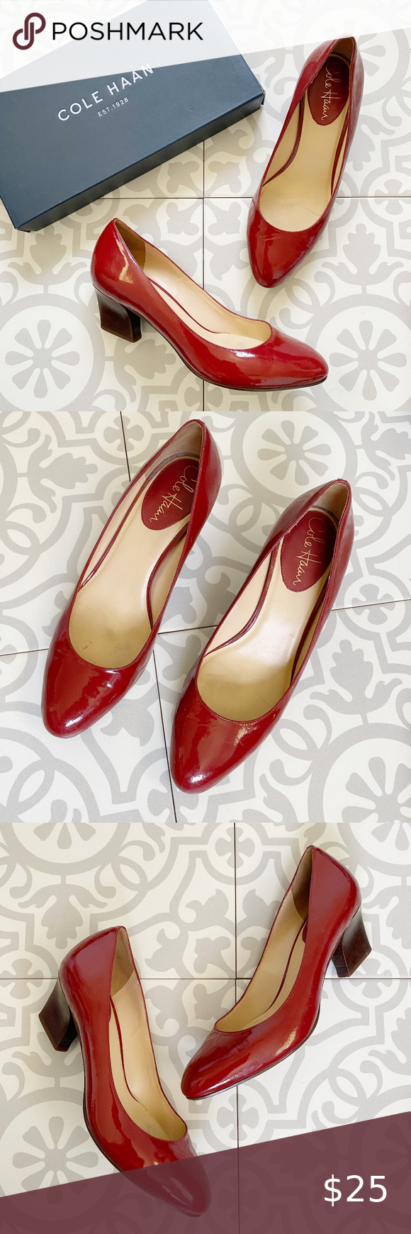 Cole Haan Patent Leather Red Kitten Heels 6 In 2020 Red Kitten Heels Heels Shoes Women Heels