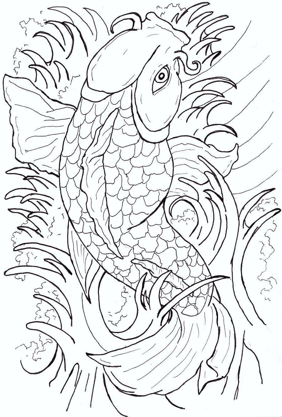 Tattoo Flash Line Drawing Converter : Koi fish tattoo flash line drawings sea pinterest