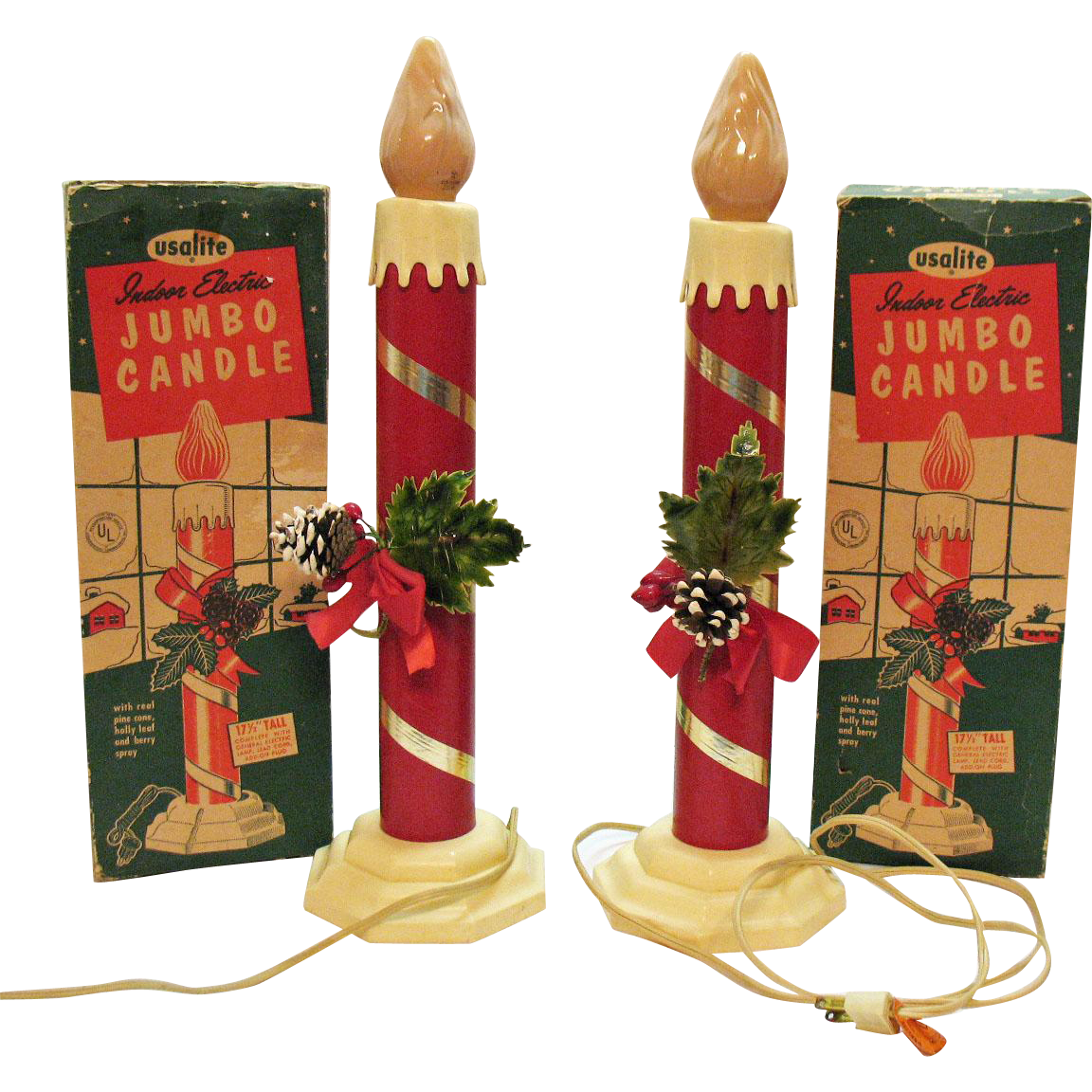Vintage christmas decorations 1950s - Vintage Christmas Large Indoor Jumbo Electric Candles 1950s Work Very Good Condition