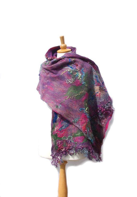 #Felted scarf nuno felt scarf merino wool shawl cobweb