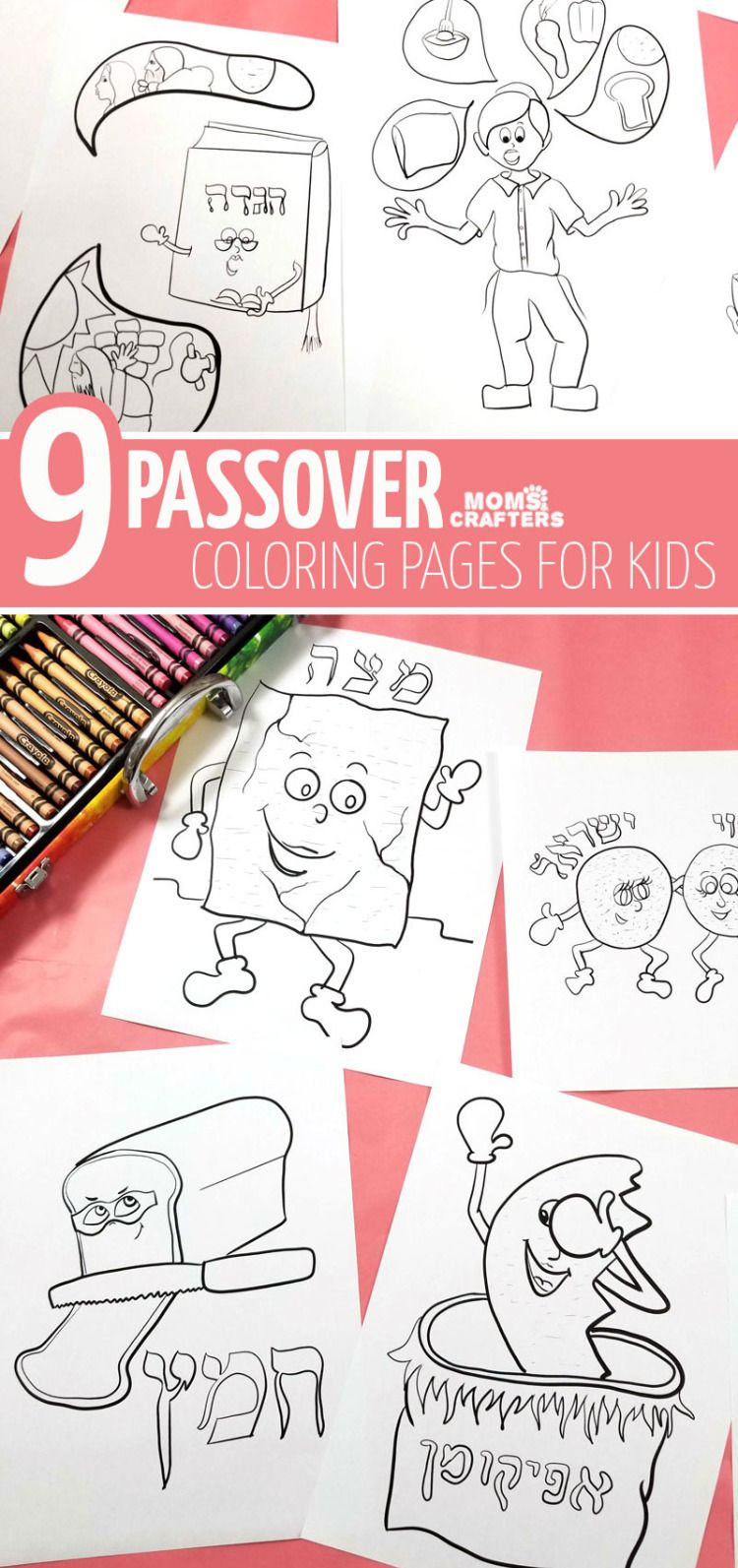 9 Passover Coloring Pages For Kids Printable Pdf Colouring Etsy Coloring Pages For Kids Jewish Activities Hebrew School [ 1593 x 750 Pixel ]