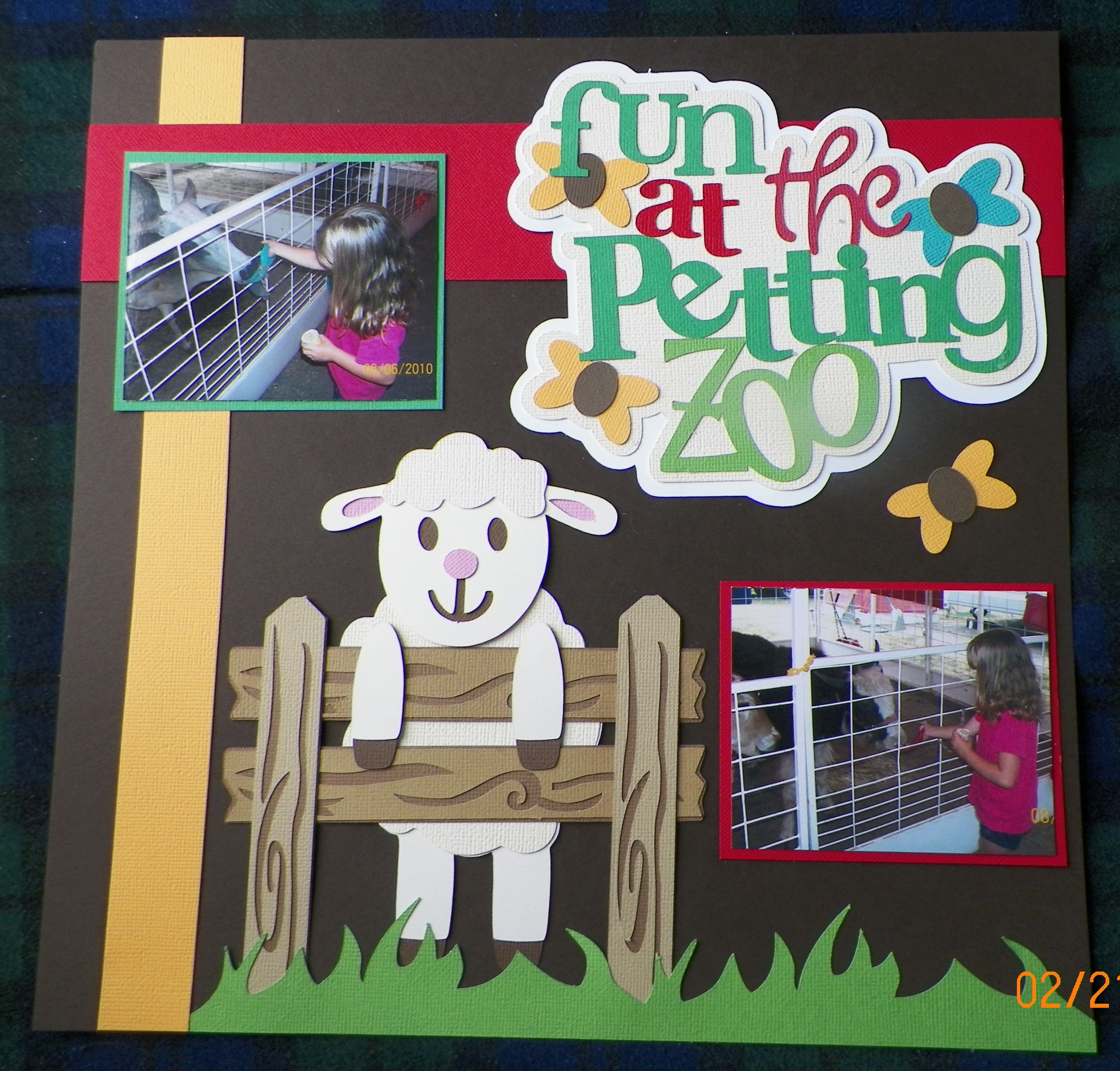 Scrapbook ideas zoo - Handmade Scrapbook Layout Petting Zoo Pg