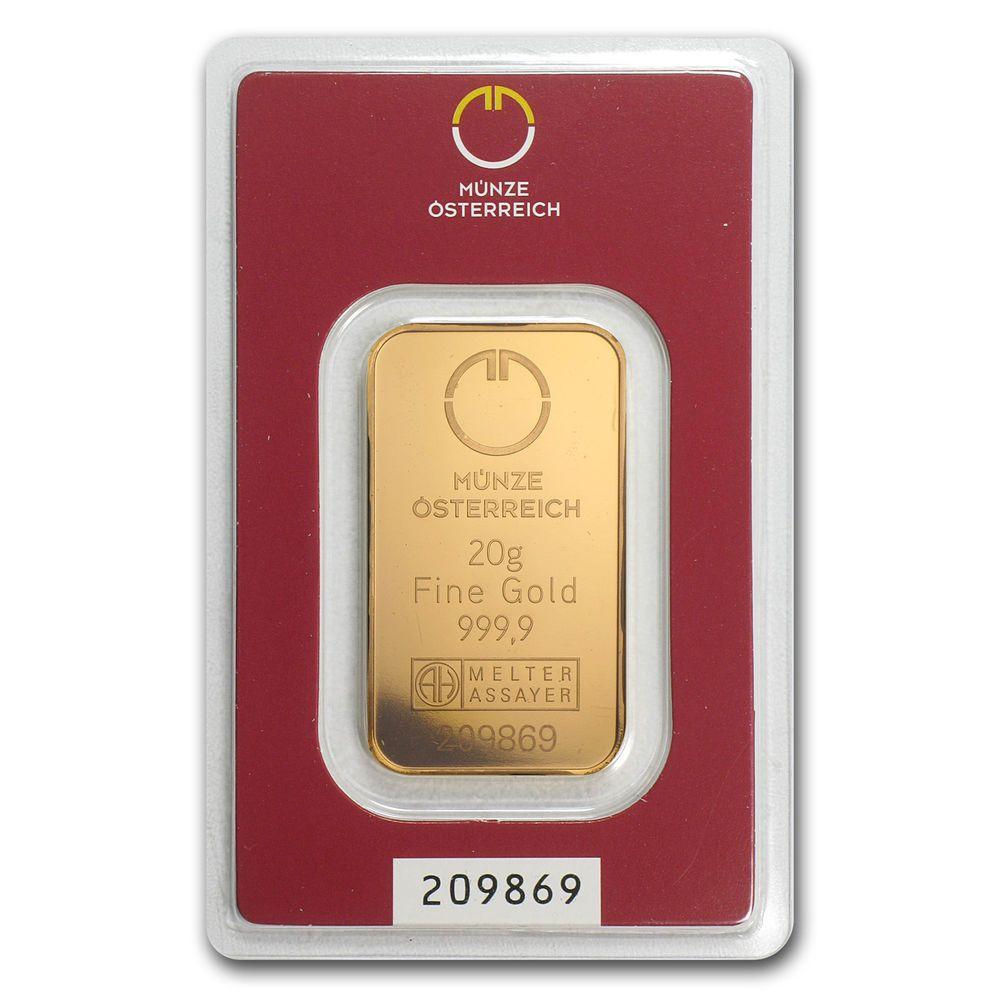 20 Gram Gold Bar Austrian Mint In Assay Sku 78377 Gold Bullion Bars Gold Bar Gold Bars For Sale