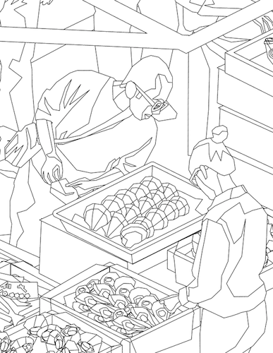 Sample coloring page from the Tokyo fish market. | illustration ...