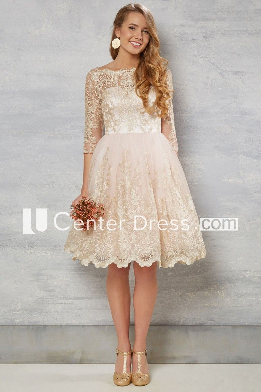 A Line Bateau Neck Knee Length 3 4 Sleeve Lace Wedding Dress