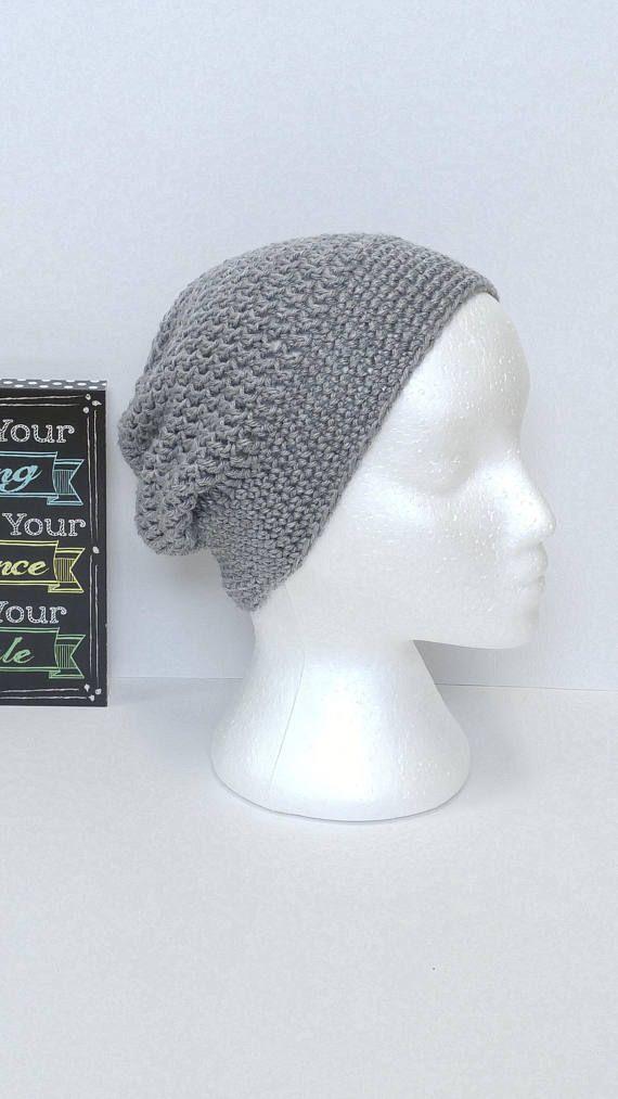 Slouchy beanie, adult hat, handmade crochet, grey beanie, gray hat ...
