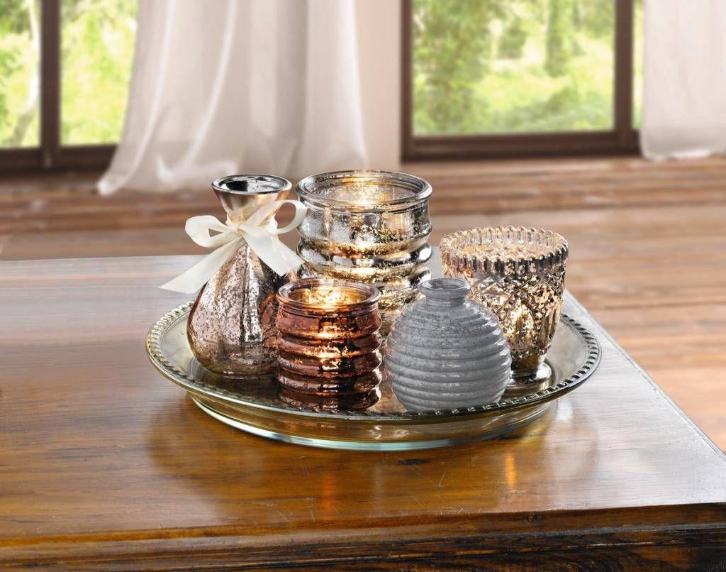 Deko Tablett Candlelight Vases 6tlg Deko Tablett Deko Teelichtglaser