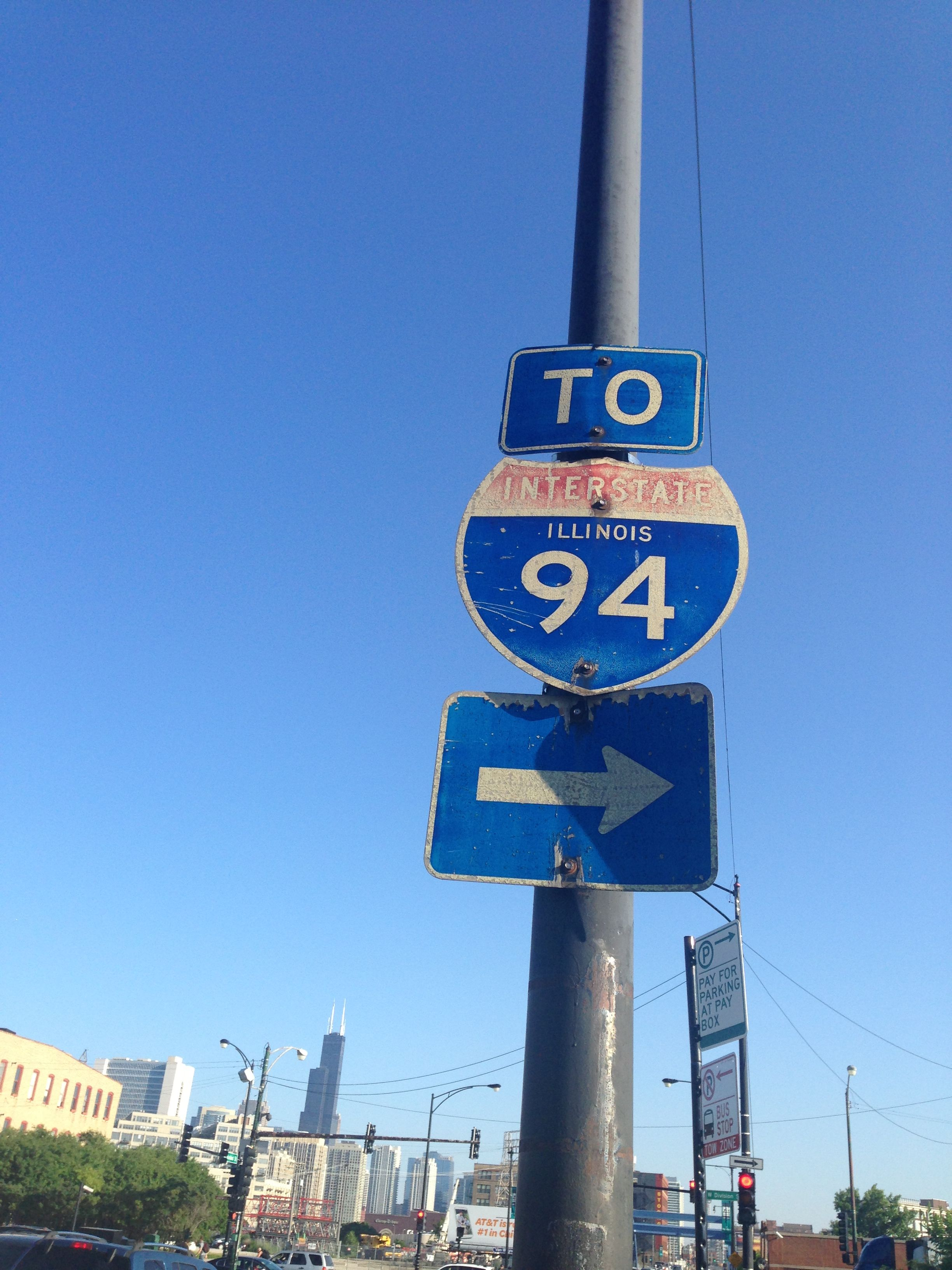 Old-style I-94 sign  It's actually 90-94 in Chicago, and